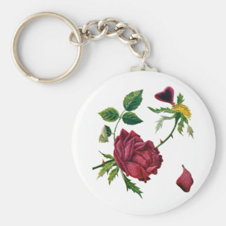 Beautiful Red Roses Done in Crewel Embroidery Keychain