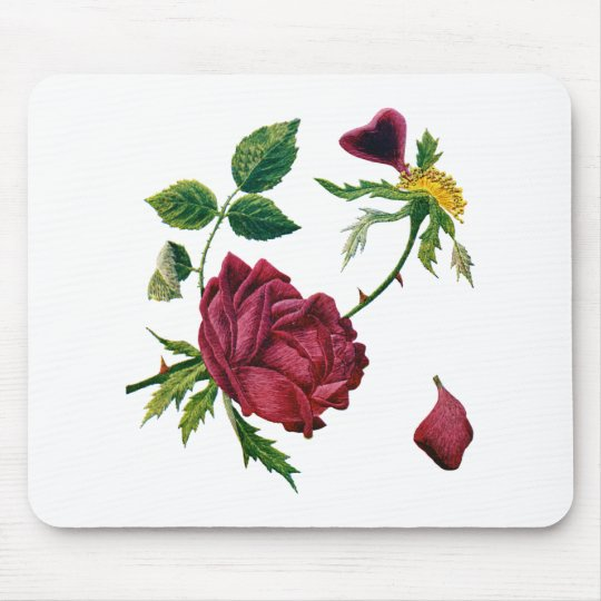 Beautiful Red Roses Done in Crewel Embroidery Mouse Pad