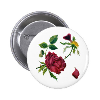 Beautiful Red Roses Done in Crewel Embroidery Pinback Button