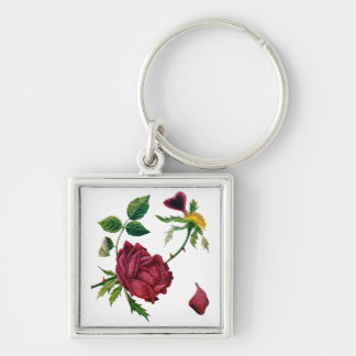 Beautiful Red Roses Done in Crewel Embroidery Silver-Colored Square Keychain