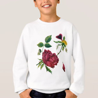 Beautiful Red Roses Done in Crewel Embroidery Sweatshirt