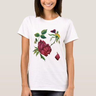 Beautiful Red Roses Done in Crewel Embroidery T-Shirt
