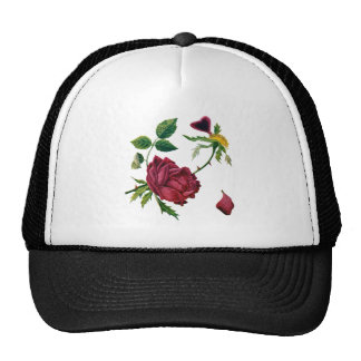 Beautiful Red Roses Done in Crewel Embroidery Trucker Hat