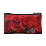 Beautiful Red Roses Makeup Bags