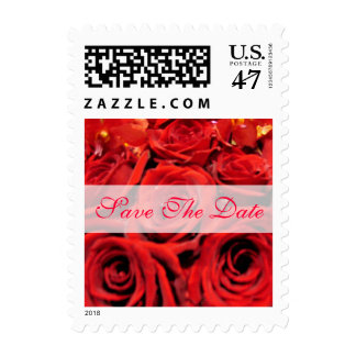 Beautiful Red Roses Save the Date Postage