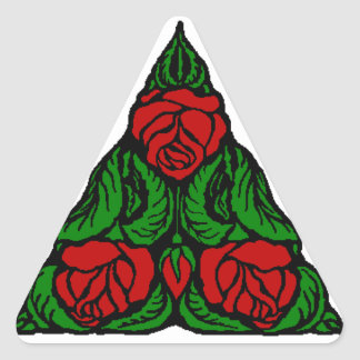 BEAUTIFUL RED ROSES TRIANGLE TRIANGLE STICKER