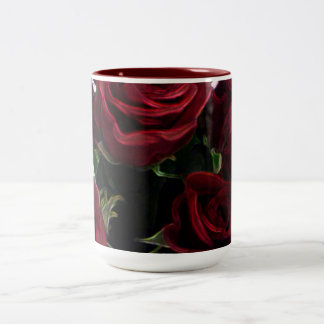 BEAUTIFUL RED ROSES Two-Tone COFFEE MUG