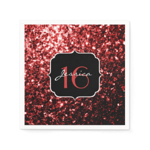 Beautiful Red sparkles napkins Standard Cocktail Napkin