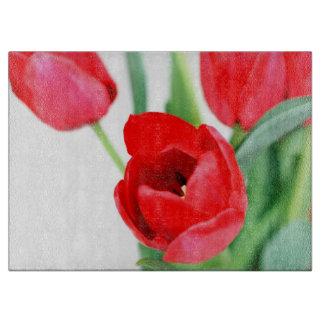 Beautiful Red Spring Tulips Cutting Board