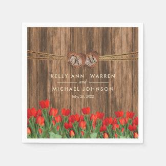 Beautiful Red Tulips on Wood Napkin