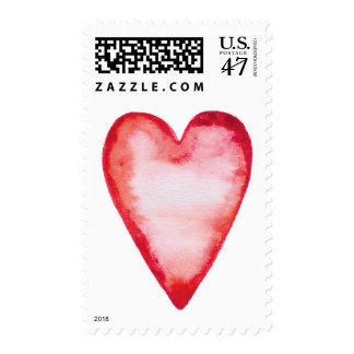 Beautiful red watercolour heart Valentine wedding Postage