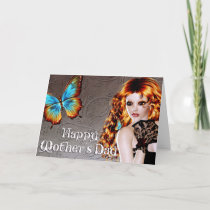 Beautiful Redhead & Butterfly Mother's Day Card