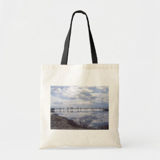 Beautiful Reflection Of Sky In Water At Tundra Canvas Bags
