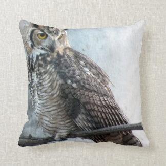 Beautiful Regal Great Horned Owl Photo Pillow