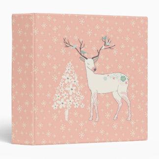 Beautiful Reindeer and Snowflakes Pink 3 Ring Binder