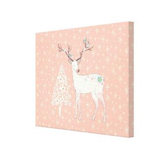 Beautiful Reindeer and Snowflakes Pink Canvas Print
