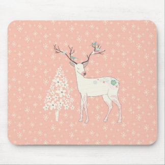Beautiful Reindeer and Snowflakes Pink Mouse Pad