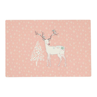 Beautiful Reindeer and Snowflakes Pink Placemat