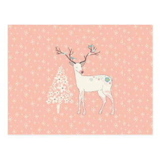 Beautiful Reindeer and Snowflakes Pink Postcard