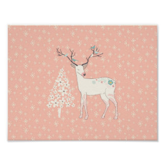 Beautiful Reindeer and Snowflakes Pink Poster