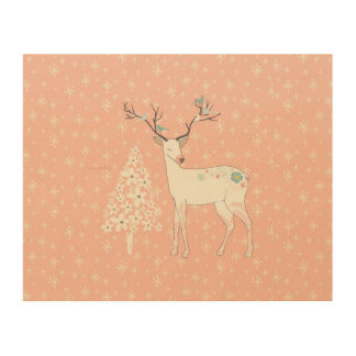 Beautiful Reindeer and Snowflakes Pink Wood Wall Decor