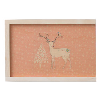 Beautiful Reindeer and Snowflakes Pink Wooden Keepsake Box