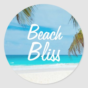 Beach Themed Beautiful Relaxing Beach Bliss Classic Round Sticker