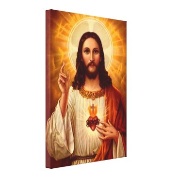 Valentines Themed Beautiful religious Sacred Heart of Jesus image Canvas Print