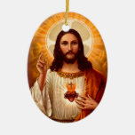 Beautiful religious Sacred Heart of Jesus image Double-Sided Oval Ceramic Christmas Ornament