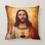 Beautiful religious Sacred Heart of Jesus image Pillow