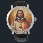 "Beautiful religious Sacred Heart of Jesus image Wristwatch<br><div class=""desc"">Beautiful religious Sacred Heart of Jesus image print</div>"