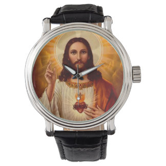 Beautiful religious Sacred Heart of Jesus image Wristwatch