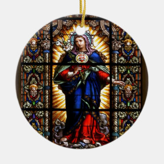 Beautiful Religious Sacred Heart of Virgin Mary Ceramic Ornament