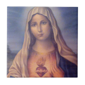 Beautiful Religious Sacred Heart of Virgin Mary Ceramic Tile