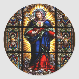 Beautiful Religious Sacred Heart of Virgin Mary Classic Round Sticker