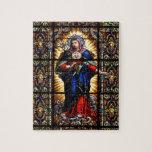 "Beautiful Religious Sacred Heart of Virgin Mary Jigsaw Puzzle<br><div class=""desc"">Beautiful Religious Sacred Heart of Virgin Mary colourful stained glass church window image print</div>"