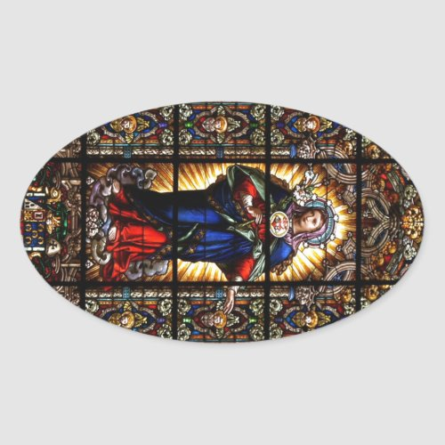 Beautiful Religious Sacred Heart of Virgin Mary Oval Sticker