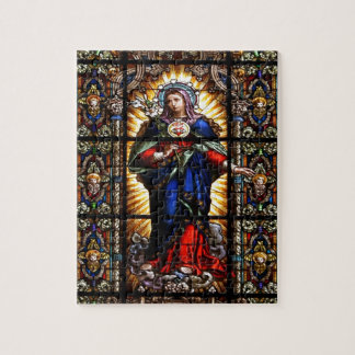 Beautiful Religious Sacred Heart of Virgin Mary Jigsaw Puzzles