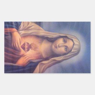 Beautiful Religious Sacred Heart of Virgin Mary Rectangular Sticker
