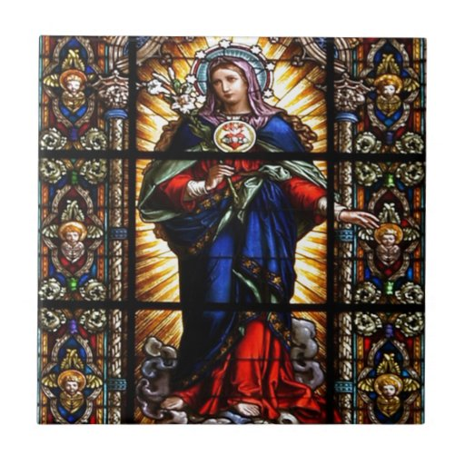 Beautiful Religious Sacred Heart of Virgin Mary Tiles