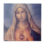 Beautiful Religious Sacred Heart of Virgin Mary Small Square Tile