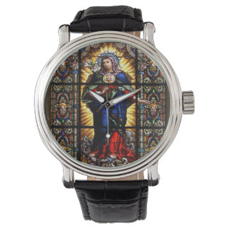 Beautiful Religious Sacred Heart of Virgin Mary Wrist Watches