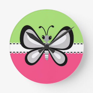 Beautiful Retro Butterfly on Pink Teal Background Wallclock