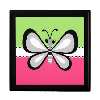 Beautiful Retro Butterfly on Pink Teal Background Keepsake Box