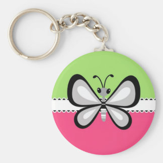 Beautiful Retro Butterfly on Pink Teal Background Key Chain