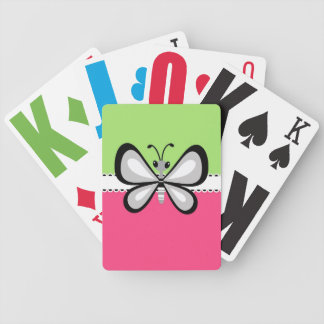 Beautiful Retro Butterfly on Pink Teal Background Bicycle Poker Cards