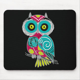 Beautiful Retro Colorful Owl Mouse Pad