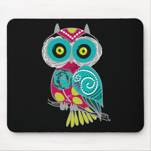 Beautiful Retro Colorful Owl Mouse Pads