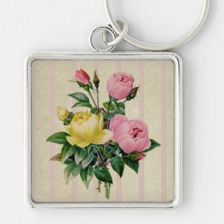 Beautiful Retro Floral Pink Antique Flower Bouquet Keychain