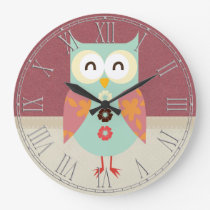 Beautiful Retro Owl Large Clock